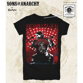 Sons of Anarchy Womens Jax Flag Poster T-Shirt - 28-444-50BK-L