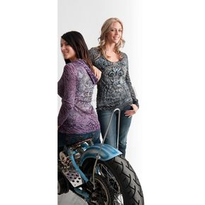 Easyriders Roadware Womens Black Cats Meow Long Sleeve Hooded Shirt - 3178L