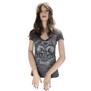 Hot Leathers Womens Broken Heart Club V-Neck T-Shirt - GLC1006L