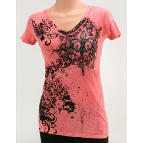 Vocal Womens Pink Flur De Lis T-Shirt - Mineral-wash