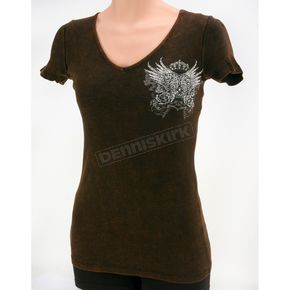 Vocal Womens Brown Rhinestone Wings T-Shirt - Mineral-wash