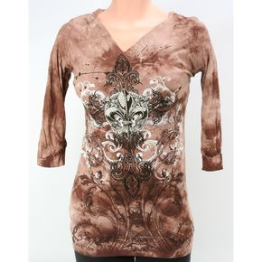 Vocal Womens Brown Tie Dye Hoody - 3/4-sleeves