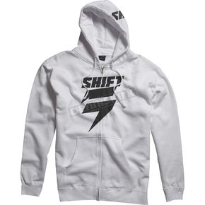 Shift White/Black Corp Fleece Zip Hoody - 45457-058-M