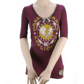 Affliction Womens Dark Hearts 3/4 Sleeve Tee - AW4993-L