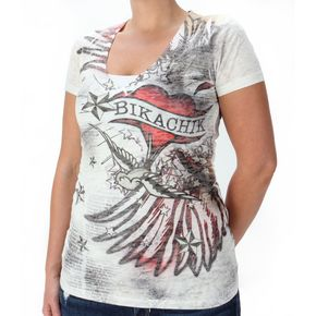 BikaChik Ladies Wings & Heart Burnout Tee - BC214W