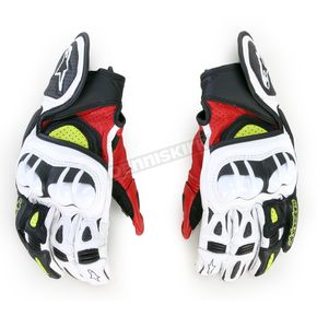 Alpinestars Black/Red/Yellow GPX Leather Gloves - 3567013-136-2X