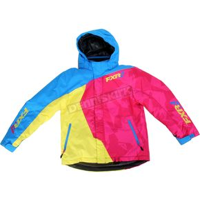 FXR Racing Youth Blue/Fuchsia/Yellow Vertical Jacket - 15308.94014