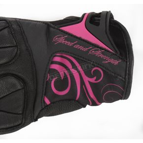 Speed and Strength Womens Black/Pink Cat Out'a Hell Gloves - 87-6434
