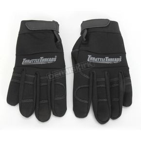 Throttle Threads Black Mechanics Gloves - TT423G14BKXR