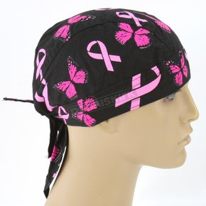 Zan Headgear Breast Cancer Ribbon and Butterflies Flydanna Headwrap - ZBC07