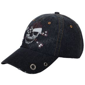 MA Apparel Womens Denim Rhinestone Skull Hat - 6856