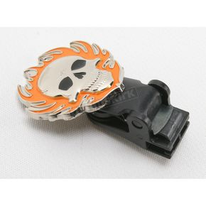 Biker Boot Straps Replacement Flaming Skull Clip  - BBS/FSC