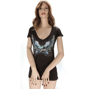 Hot Leathers Womens Black Sparkle Wings V-Neck T-Shirt - SPL1310-S