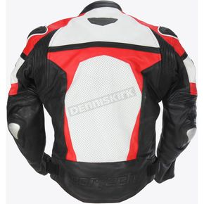 Cortech Red/White/Black Adrenaline Leather Jacket - 8971-0101-08