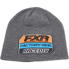 FXR Racing Charcoal Heather/Orange Race Division Patch Beanie - 173324-0630-00