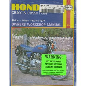 Haynes Honda CB400/CB550 Repair Manual  - 262