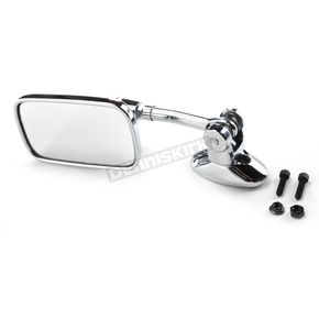 Chrome Mini Rectangle Short Stem Fairing Mount Mirror - 0640-0939