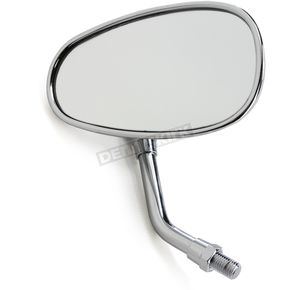 Parts Unlimited Chrome Mini Oval Yamaha Reverse Thread Classic American Style Mirror - 0640-0948