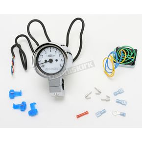 Baron Custom Accessories 3 in. Bullet Tachometer White Face for 1 in. Bars - BA-7570-00