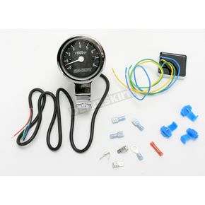 Baron Custom Accessories 3 in. Bullet Tachometer Black Face for 1 1/4 in. Bars - BA-7576U