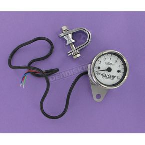 Drag Specialties Electrical Mini 8000 RPM Tachometer w/White Face - 2211-0058