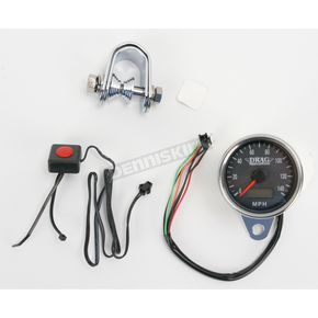 Drag Specialties 2.37 in. Black Faced Programmable Mini  Electronic Speedometer with Odometer - 2210-0174