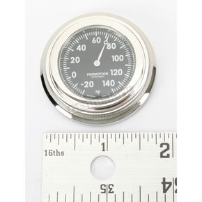 Formotion Chrome Flat Mount Thermometer w/Black Face - SL-21000