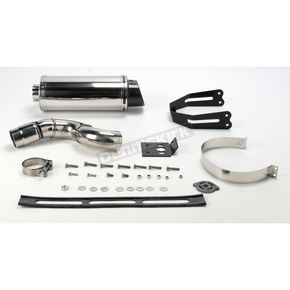 Scorpion Underseat Oval Slip-On Extreme Muffler w/Polished Stainless Steel Muffler Sleeve - KA72SSOC