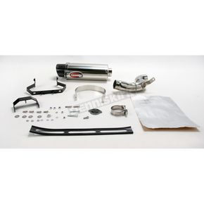 Scorpion Underseat Oval Slip-On Extreme Muffler w/Polished Stainless Steel Muffler Sleeve - KA77SSOC