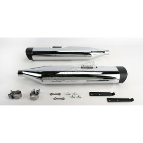 Vance & Hines Chrome Monster Oval Slip-On Mufflers w/Black Tips - 16753