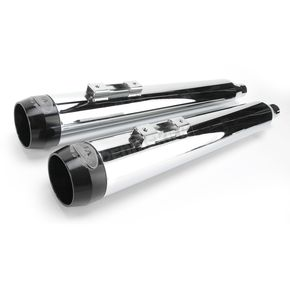 LA Choppers 3.5 in. Chrome Tru Power Slip-On Mufflers W/Black Tips  - LA-1093-02B