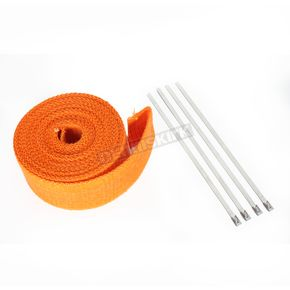 Cycle Performance Orange Exhaust Pipe Wrap w/Silver Tie Straps - CPP/9062
