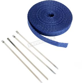 Cycle Performance Blue 1in. x 50ft. Exhaust Pipe Wrap W/ Silver Tie Wraps - CPP/9067