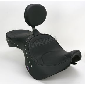 Parts Unlimited Studded Mild Stitch Low-Profile Double-Bucket Seat with Backrest - 0810-0931