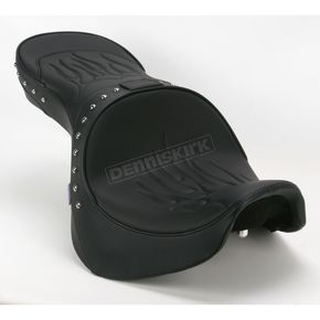 Parts Unlimited Studded Flame Stitch Low-Profile Double-Bucket Seat with Backrest - 0810-0934