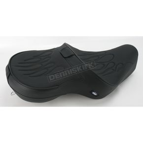 Drag Specialties Flame Stitch Low-Profile Touring Seat w/Dual Backrest Capability - 0804-0412