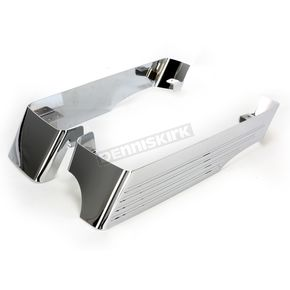CycleSmiths Chrome 3 in. Billet Saddlebag Extensions w/Cutouts for 2 into 1 Right Side Exhaust - 201-14