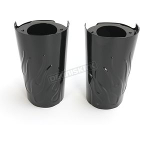 Drag Specialties Black Flame Fork Slider Covers - 0411-0131