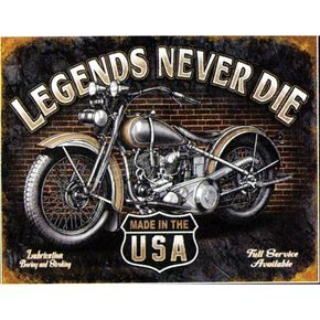 Mustang Seats Legends Never Die Metal Sign - 65054