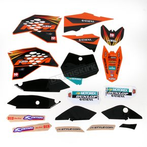 N-Style Black 12 Factory KTM Race Team Graphics Kit w/Seat Cover - N40-5645