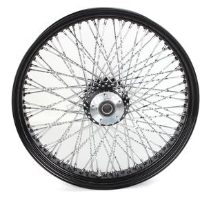 Paughco 21 in. x 3.5 in. Black 80-Spoke Front Wheel Assembly w/Twisted Spokes - 16-122