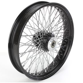 Paughco 21 in. x 3.25 in. Black 80-Spoke Front Wheel Assembly w/Round Spokes - 16-123