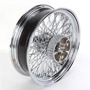 Paughco 18 in. x 5.5 in. Chrome 80-Spoke Rear Wheel Assembly w/Round Spokes - 16-112