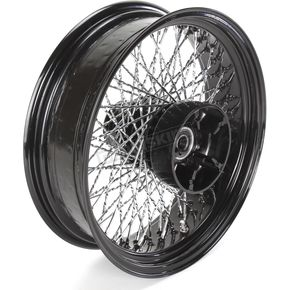Paughco 18 in. x 5.5 in. Black 80-Spoke Rear Wheel Assembly w/Twisted Spokes - 06-119