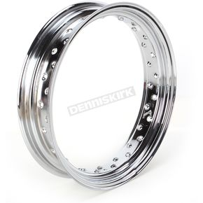 Drag Specialties Chrome 16 x 3.50 40-Spoke Custom Spun Steel Rim - 0210-0020