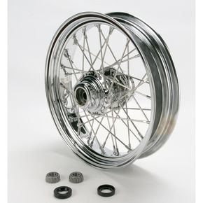 Drag Specialties Chrome 16 x 3.5 40-Spoke Laced Wheel Assembly for Single Disc - 0203-0069