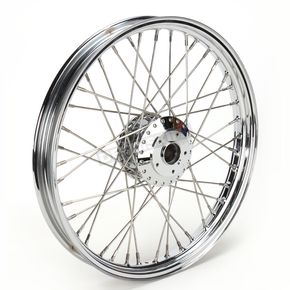 Drag Specialties Chrome 21 x 2.15 40-Spoke Laced Wheel Assembly for Single or Dual Disc  - 02030089