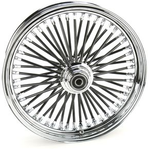 Drag Specialties Black 18 x 3.5 Fat Daddy 50-Spoke Radially Laced Wheel for Single Disc - 02030350