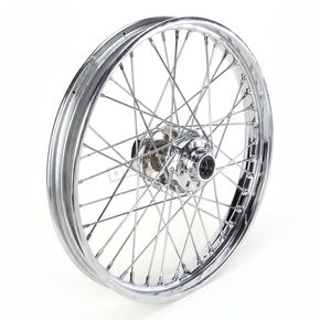 Drag Specialties Chrome Front 21 x 2.15 40-Spoke Laced Wheel Assembly  - 0203-0411