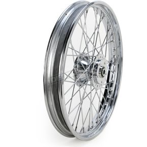 Drag Specialties Chrome Front 21 x 2.15 40-Spoke Laced Wheel Assembly  - 0203-0412
